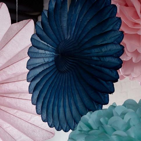 Papier-Deko in Fächerblume Rosa, Kugel mint, Fächerblume Petrol bei IMPRESSIONEN