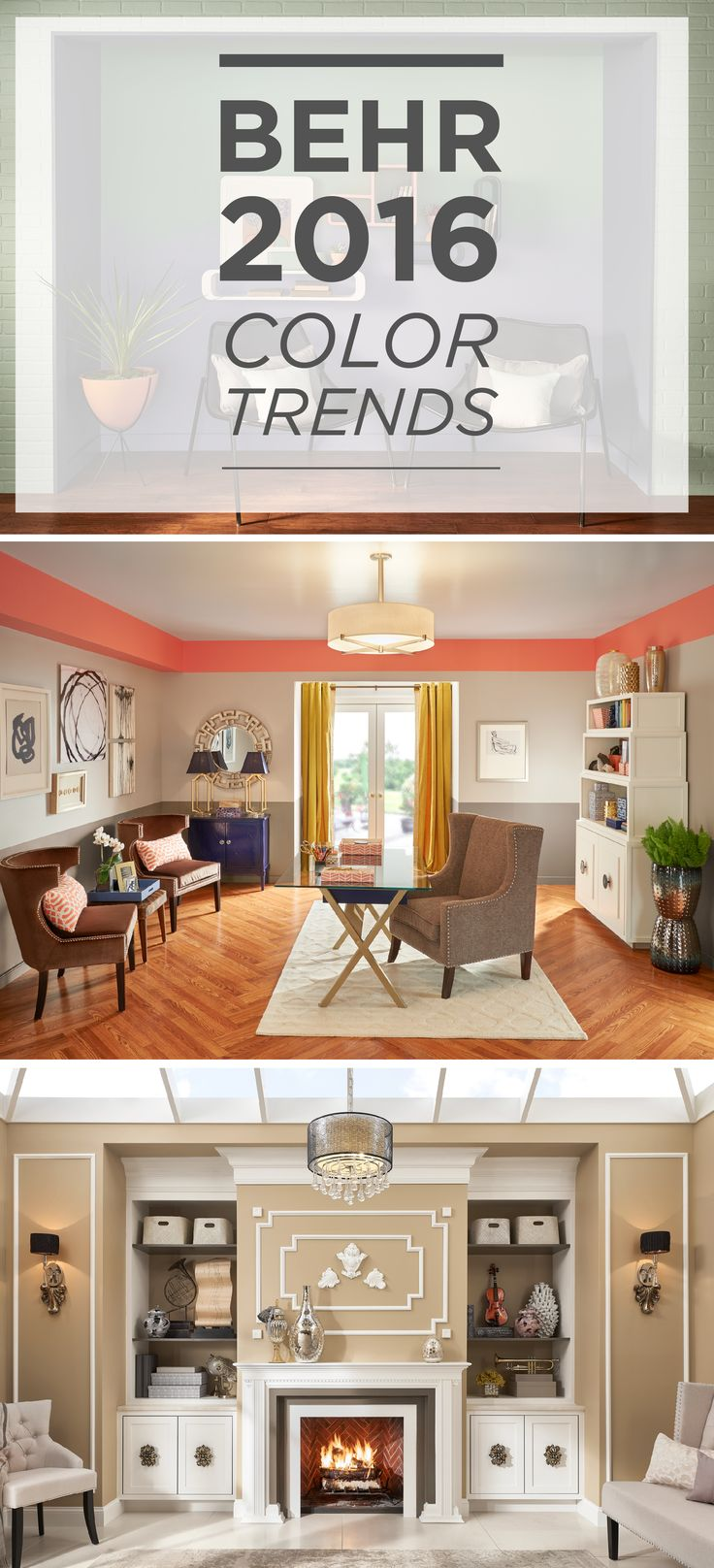Featuring BEHR paint in Penthouse View, Coralette, Symphony Gold, and Ivory Keys, these sophisticated spaces are sure to inspire you on ways to add visual interest and draw the eye to the tall ceilings of your room!