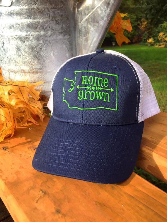 Rock your Seahawks colors in this super cute Washington Home Grown Trucker Hat Navy/Green Original desigh by Houseof3