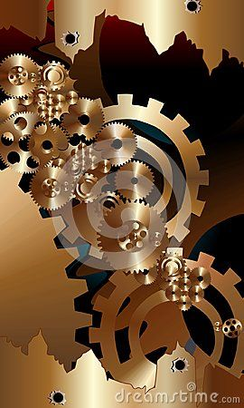 Gold bronze gears with red black background