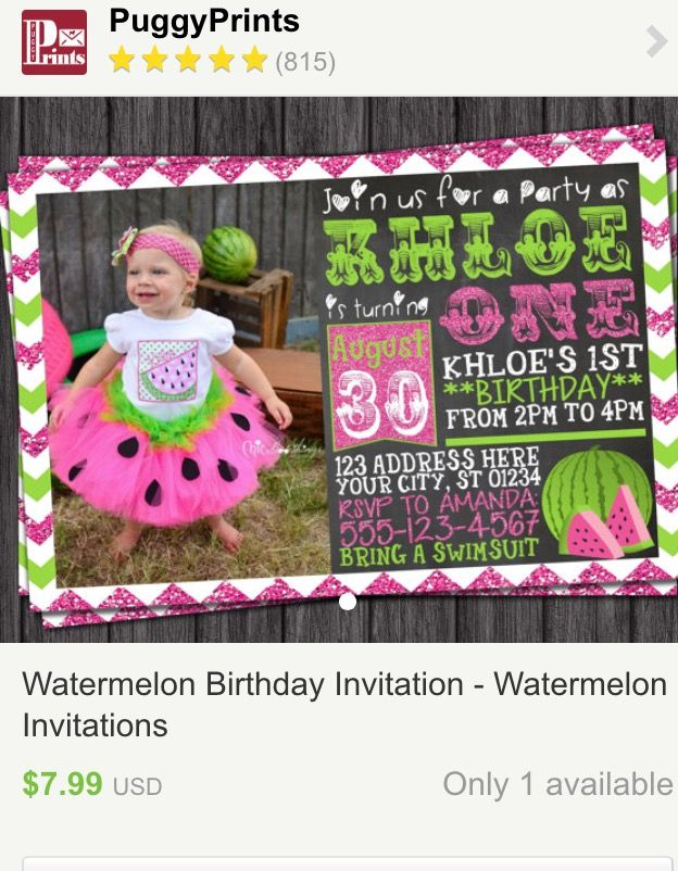124 best watermelon birthday party images on pinterest, Birthday invitations