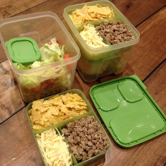 The girls are going to LOVE their #tacosaladtogo #lunches tomorrow. #cdncheese #simplepleasures #betterfoodforall. I featured this #leftover made to #lunch idea on my breakfast television segment earlier this week. #kidslunch #schoollunch #Winnipeg #yummy