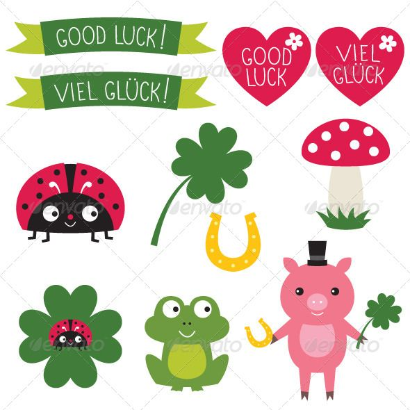 Good Luck Elements Set ...  animal, banner, birthday, cartoon, clipart, clover, collection, cute, design, element, fortune, frog, good luck, green, happy, heart, horseshoe, icon, illustration, isolated, ladybug, luck, lucky, mushroom, pig, set, shamrock, sylvester, symbol, vector