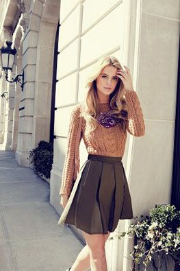 neutrals. sweater. skirt. add tights and boots for fall