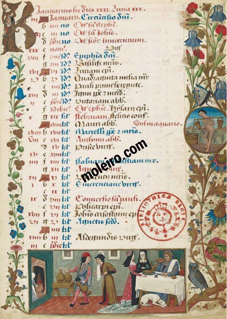 les heures de Charles d'Orléans: Calendrier liturgique. (I M) - R. Testard se chargea principalement des enluminures en pleine page, les enluminures entourant les textes avaient déjà été réalisées avant qu'il ne démarre son travail. Le manuscrit est accompagné de 230 folios, il comprend 38 miniatures.