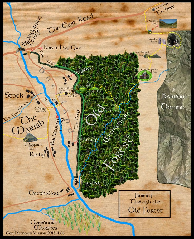 Map of Frodo's Journey from Maggot's Farm through the Old Forest to the Bree…