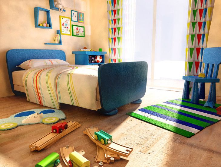 Natural Wood Bedroom Color Scheme With Cheerful Curtain And Rug For Kid Bedroom Design Inspiration - pictures, photos, images
