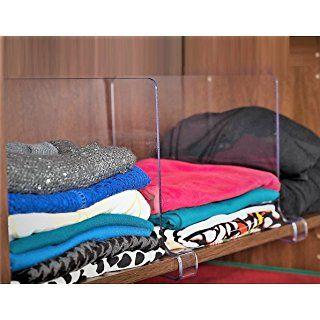 ClosetMate Beautiful 2 Pack Acrylic Shelf Dividers - Unbreakable Crystal Clear Closet Shelves, Organizer Separators, Perfect for Closets Kitchen Bedroom Shelving Organization