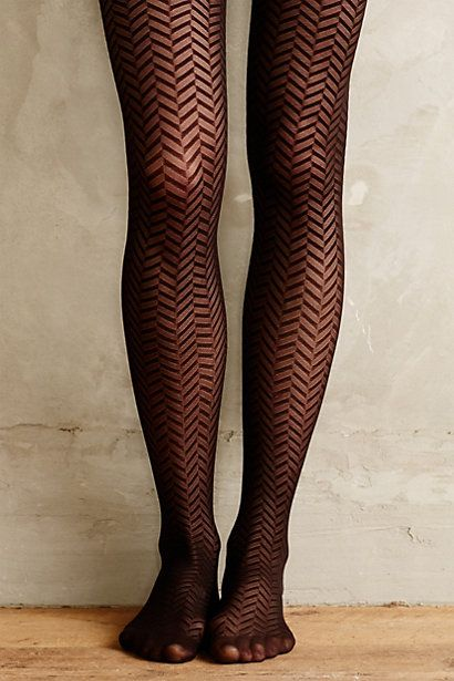 Black Herringbone Tights - anthropologie.com