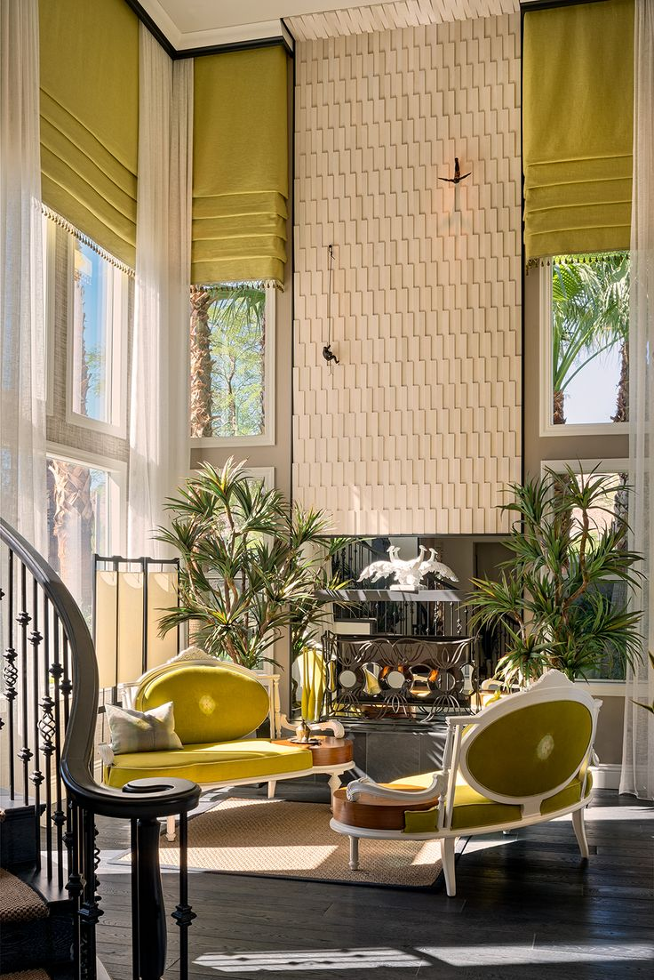 Victorian, Midcentury, Modern, Vegas, Green Chaise, Green Roman Shades.