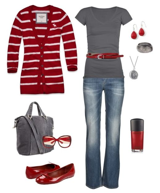 Cute:)Colors Combos, Fashion, Red, Style, Day Outfit, Clothing, Grey, Cute Outfit, Belts