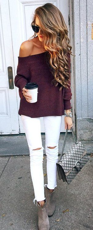 #fall #musthave #trends | Wine Off Shoulder Sweater + White Jeans