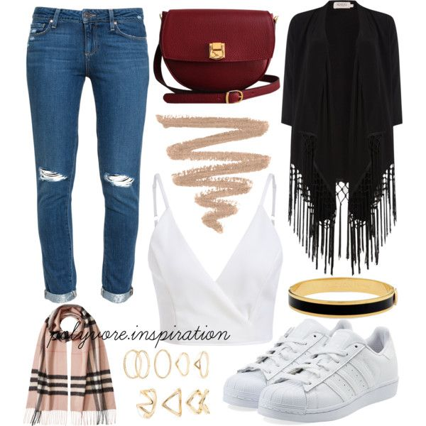 A fashion look from November 2015 by loveemyself featuring Soaked in Luxury, Paige Denim, adidas Originals, The Code, Halcyon Days, Forever 21 i Burberry