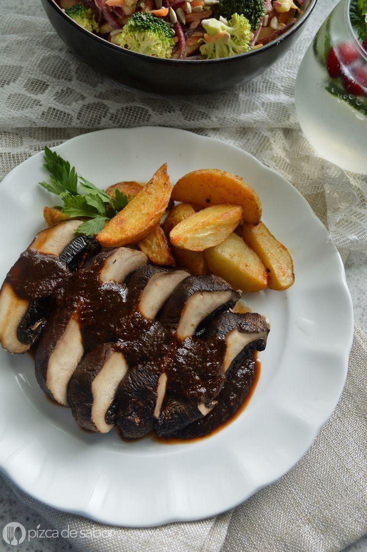 Portobello en salsa de ciruela (versión vegetariana de lomo en ciruela) www.pizcadesabor.com