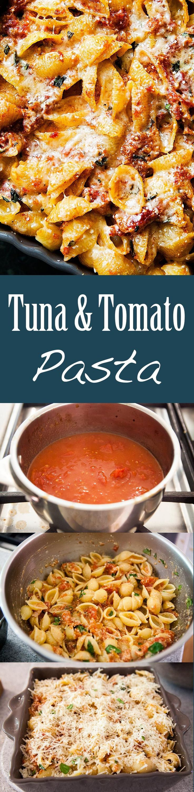 Tuna and Tomato Pasta ~ A simple dish of pasta shells with a buttery tomato sauce, tuna and ricotta, all baked with a cheesy parmesan crust. ~ SimplyRecipes.com