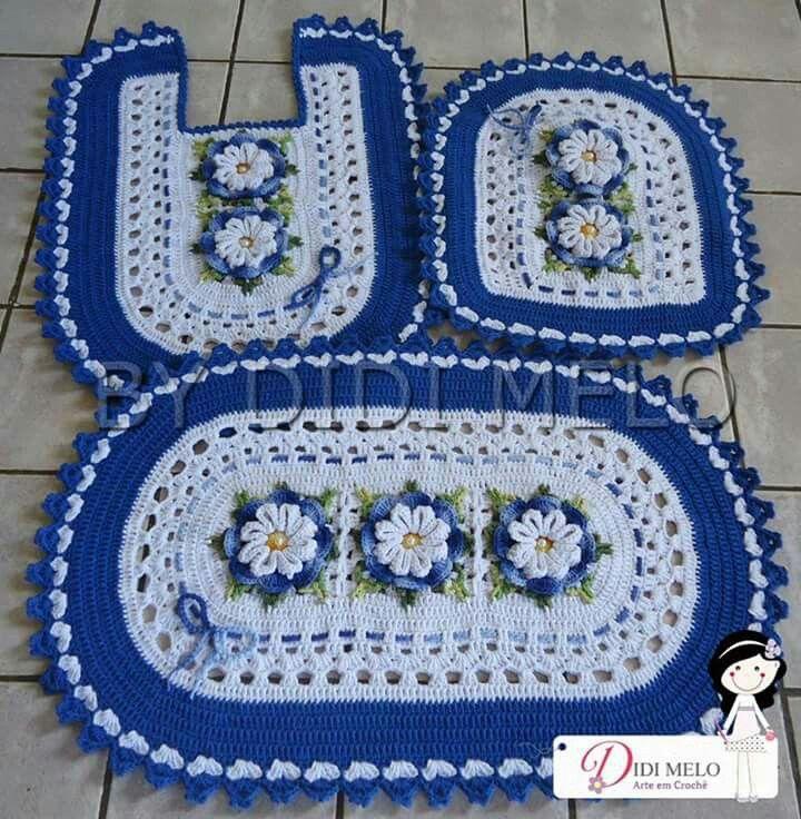 Jogo de banheiro   croche   com flores   branco e azul