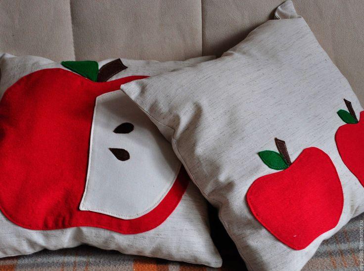 Купить Набор подушек Яблочный - подушка, детская, кухня, подушка с орнаментом, подушка с аппликацией, вышивка