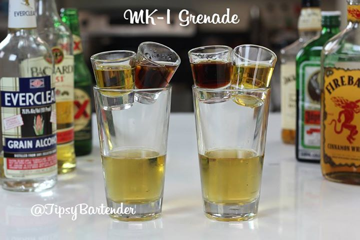 Check out the MK-1 Grenade Bomb Shot! If you are looking for a bomb shot that'll get the night started right, this is your drink! To see how we did it, visit us here: http://www.tipsybartender.com/blog/the-mk-1-grenade-bomb-shot