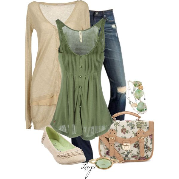 Green & Cream by lagu on Polyvore featuring RIFLE, Pinko, Blowfish, Mira and AG Adriano Goldschmied