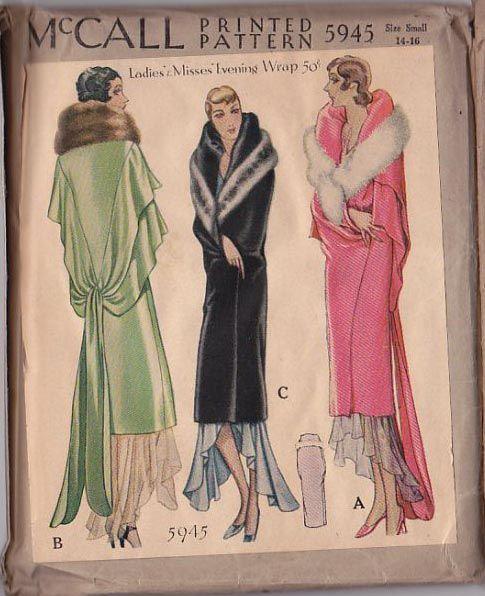 McCall 5945 | 1929 Ladies' & Misses' Evening Wrap