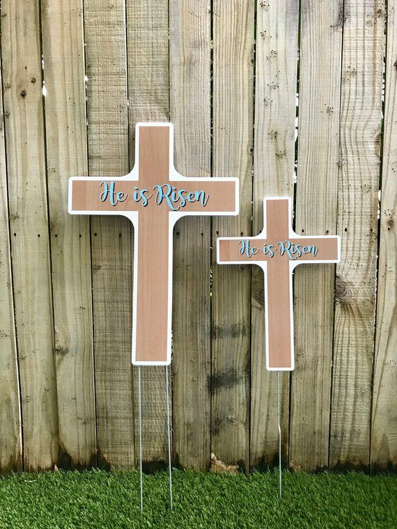 He Is Risen Easter Cross Easter Yard Decoration Yard Sign Outdoor Decoration Easter Decoration Spring Easter Yard Decorations Yard Decor Yard Art