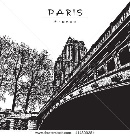 Paris - France. Notre Dame cathedral. Black and white vector engraved Image.  EPS 10. Easy editable image. Result of Auto-Trace.