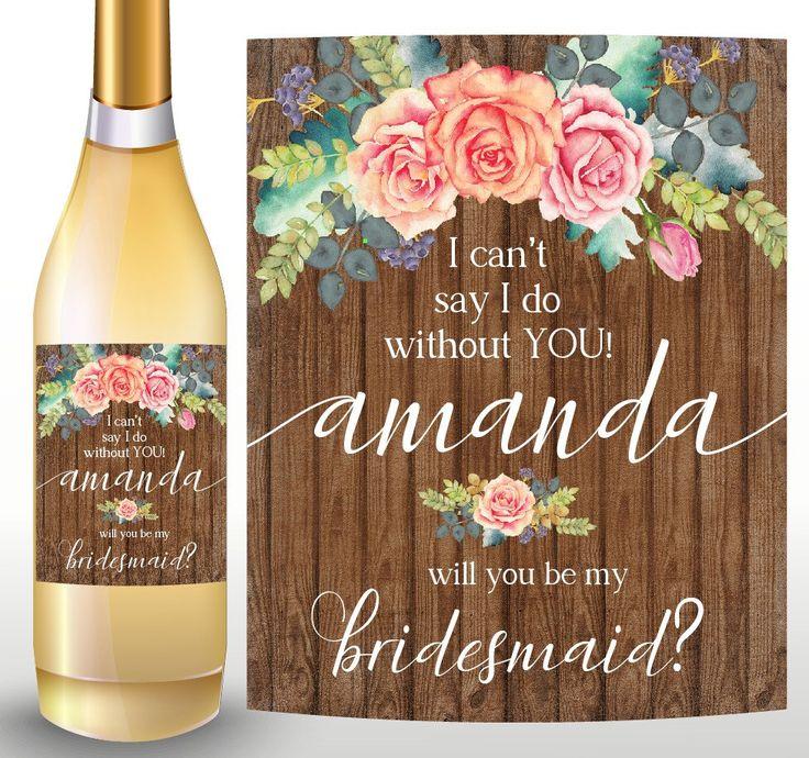 BRIDESMAID WINE BOTTLE Label, Bridesmaid Wine Label, Bridesmaid Wine Bottle, Bridesmaid Proposal, Bridesmaid Gift, Will You Be My Bridesmaid by LongShadowPaper on Etsy https://www.etsy.com/listing/483747235/bridesmaid-wine-bottle-label-bridesmaid