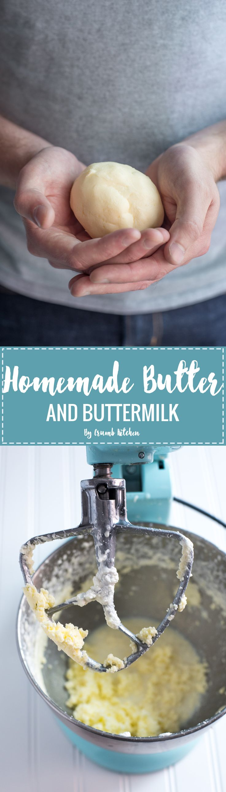 Learn how to make rich, lightly salted homemade butter and buttermilk from only heavy cream and salt in your stand mixer. | Crumb Kitchen