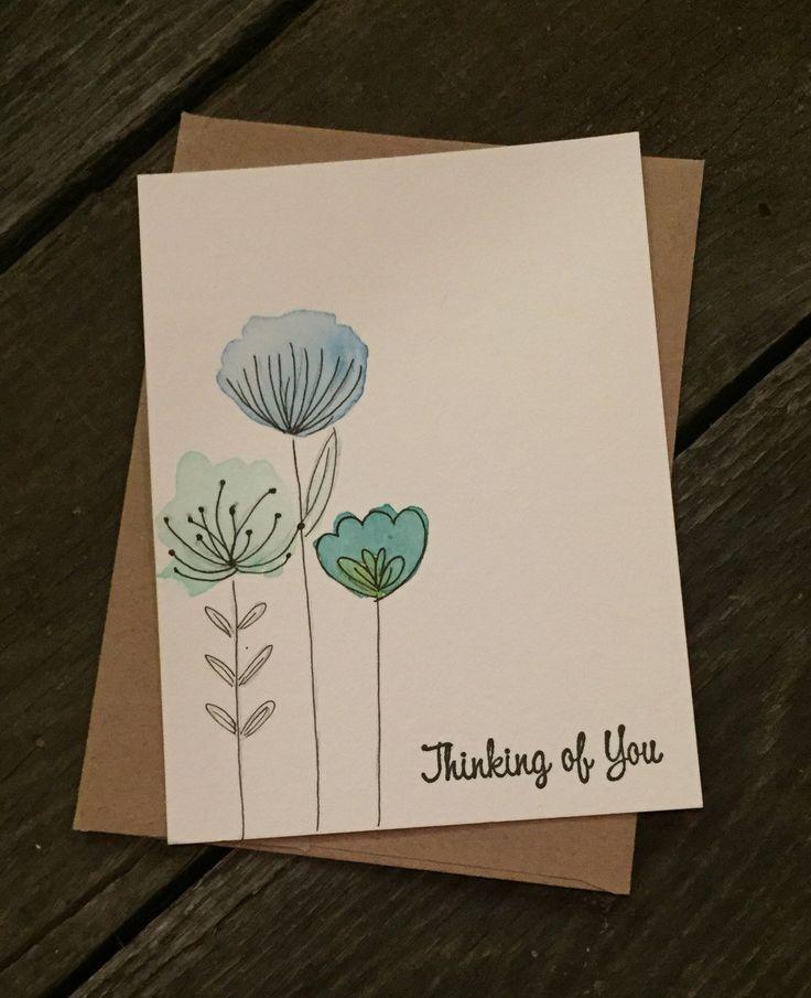 Aquarellkarten | Handgemalte Karten | Kundenspezifische Karten | Geburtstagskarten | Nur weil | Denken – #Aquarellkarten #blumen #denken #Geburtstagsk…