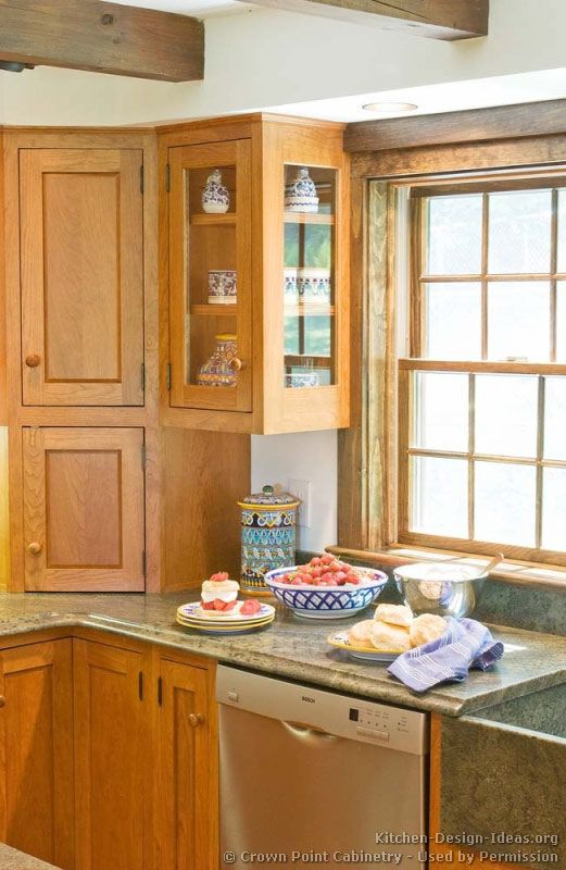 Corner Kitchen Cabinet, The Creative And Eficient Solution:Golden Pine Wood Corner  Kitchen Cabinet Traditional Corner Kitchen Cabinet