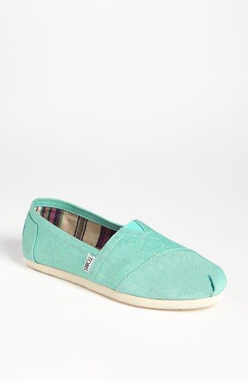 TOMS 'Classic' Metallic Linen Slip-On (Women) available at #Nordstrom  My first pair of TOMS - Love 'em!