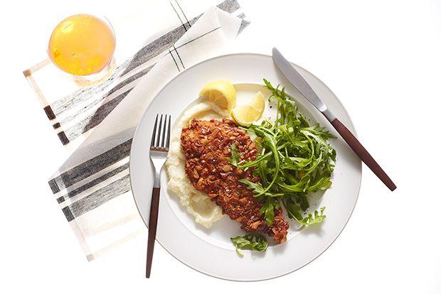 Pretzel-Crusted Chicken Cutlets with Cauliflower Pur