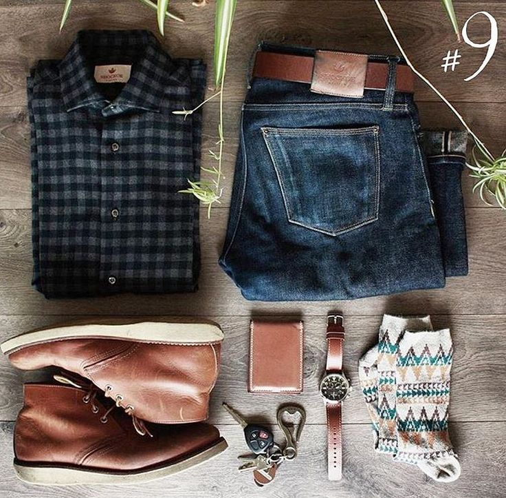 Perfect- Well Matched. flannel shirt, jeans,boots, socks, watch,wallet,