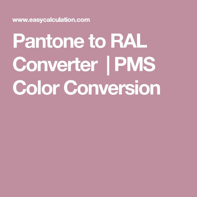 Pantone to RAL Converter  | PMS Color Conversion