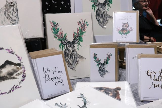 Scottish illustrations by Amy Singer at Candy Belle's Vintage Christmas in Aberdeen, Scotland. Stag illustration.