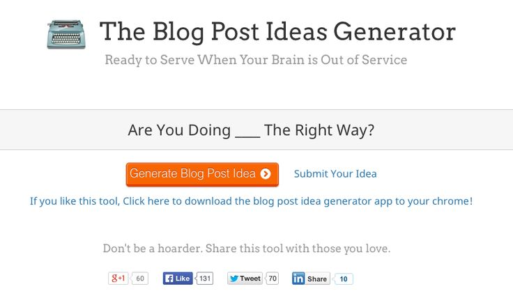 8 Blog Topic (and Title!) Idea Generators for Blog Post Inspiration from Wordstream (February 2015)