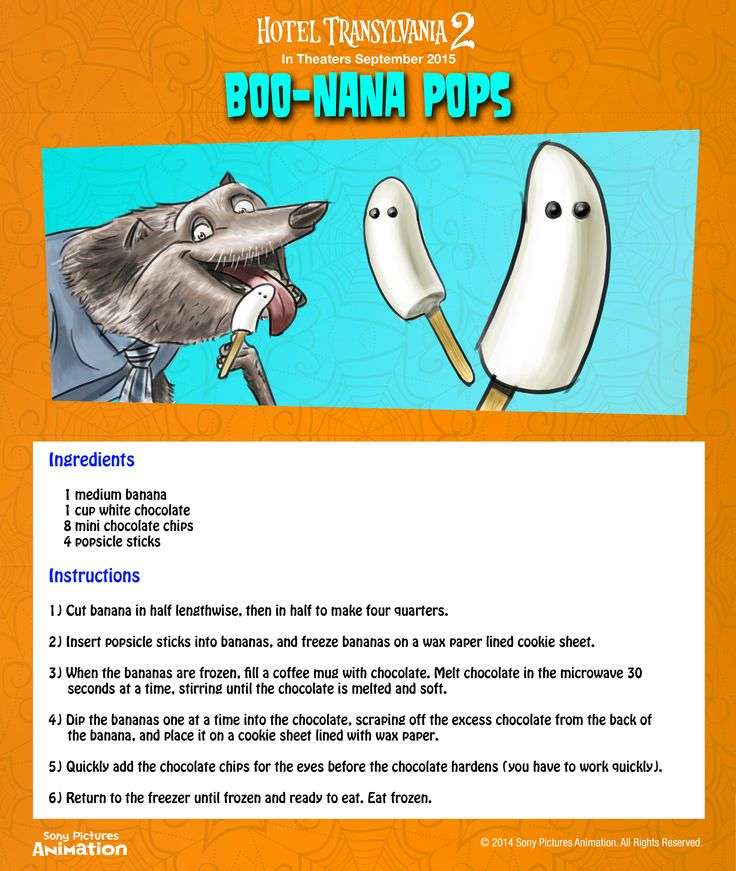 Don't be scared by the name, these banana and chocolate popsicles are easy to make with this simple recipe you can do at home! | Hotel Transylvania 2