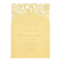 Chartula - A Little Romance Laser Cut Wedding Invitation - Gold on Sorbet Yellow - Designer invitations for a luxury wedding by www.chartula.co.uk