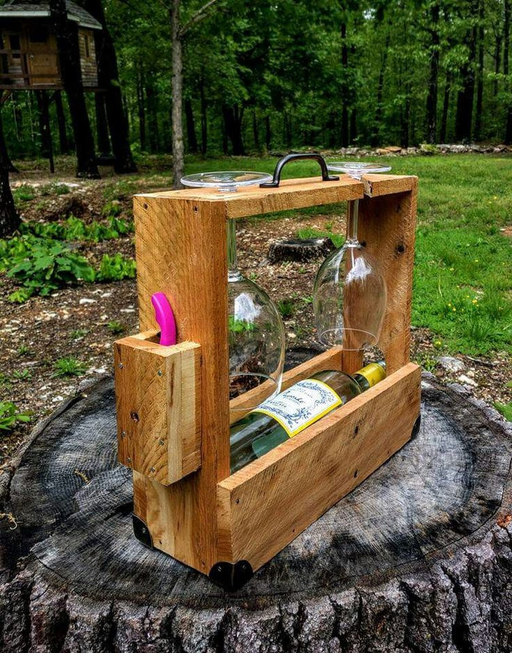 Wine caddie from pallet wood with 2 glasses and corkscrew   https://m.facebook.com/TommyVaughnDesignsLLC/
