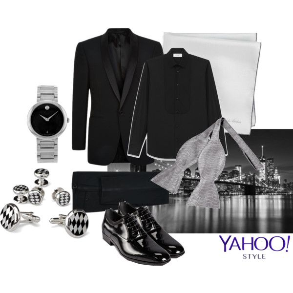 Monochromatic cool by maria-kuroshchepova on Polyvore featuring Movado, Ralph Lauren Black Label, Yves Saint Laurent, Salvatore Ferragamo, Forzieri, Brooks Brothers, contestentry and yahoostyle