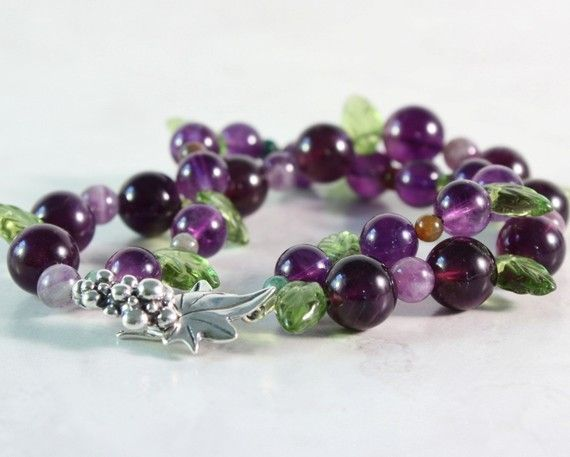 Amethyst Purple Bracelet Jewelry Green by AbacusBeadCreations