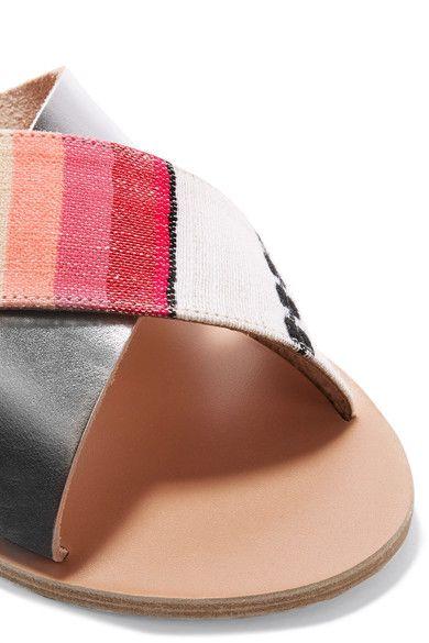 Ancient Greek Sandals - Lemlem Thais Metallic Leather And Jacquard Slides - Silver - IT40