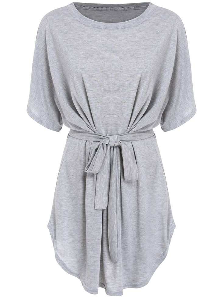 Need a soft dress for coming spring and home camping ? Come Romwe for this Grey Tshirt Dolman Dress, enjoy up to 60% off .