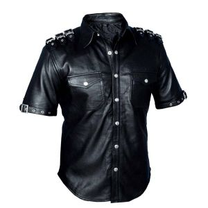 GOTH Shirt BLUF Most Sizes REAL LEATHER Mens Black PUNK ROCK