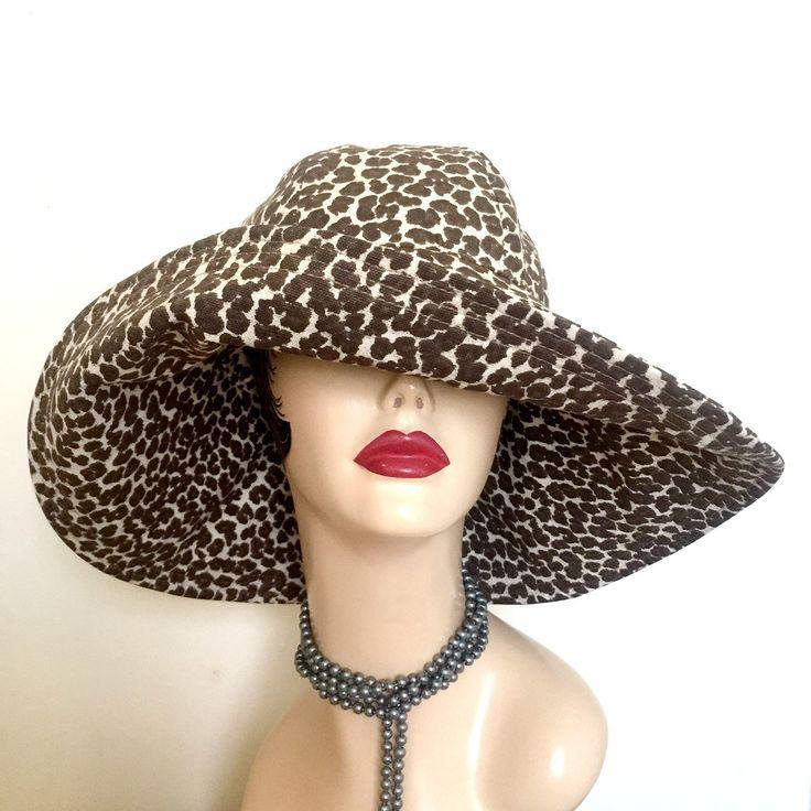 Derby Hat, Summer Floppy Brim Hat, Wide Brim Sun Hat, Women's Summer Hats, Leopard Print Hat, Hats for the Races, Handmade in the USA