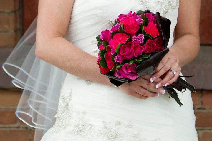 gorgeous hot pink mix   bridal bouquet by Poppy Parsons Aifd #SmartFlowers