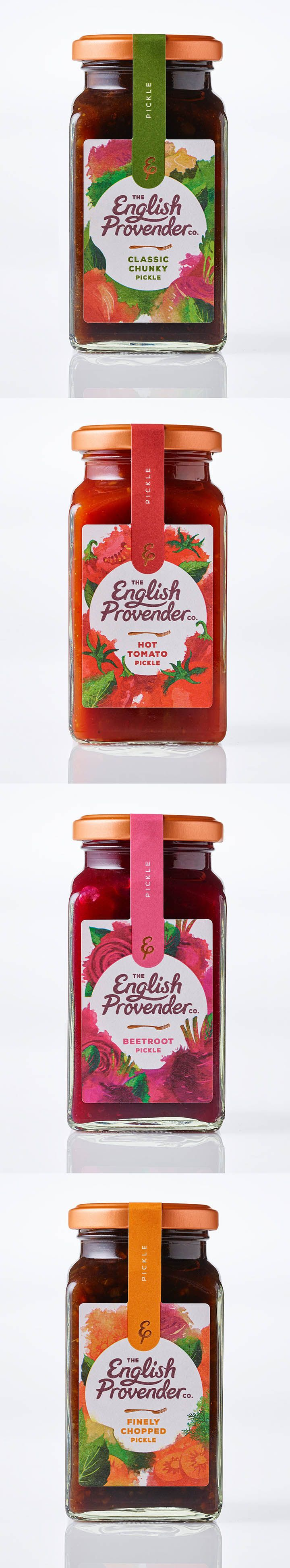 New range of pickles and chutneys launched by English Provender. A range of 6 chutneys and 4 pickles stocked in all UK supermarkets. Illustrations by Ohn Mar Win
