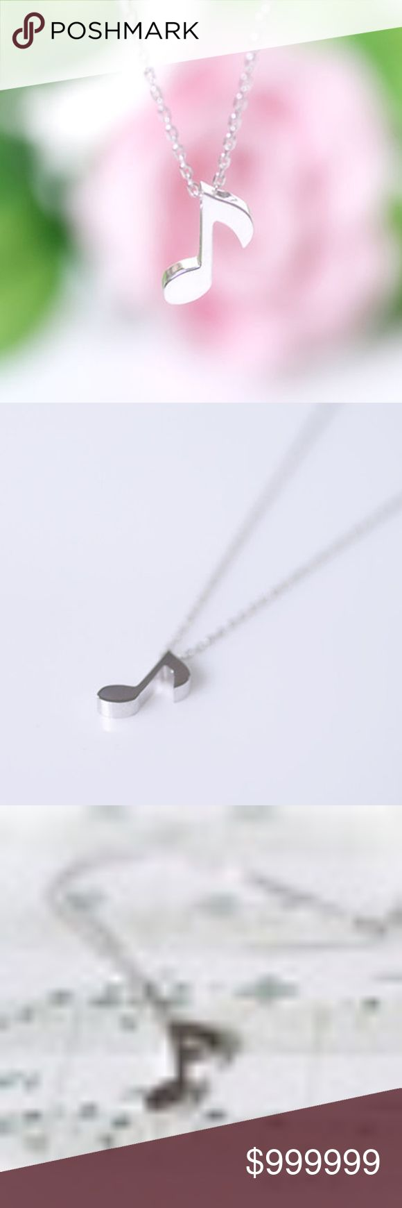 COMING SOON: Music Note Dainty Necklace Silver Like for arrival and discount shipping notification!  Music note Dainty Pendant Necklace in Silver Color 16 inches with 2 inch extender golden threads Jewelry Necklaces