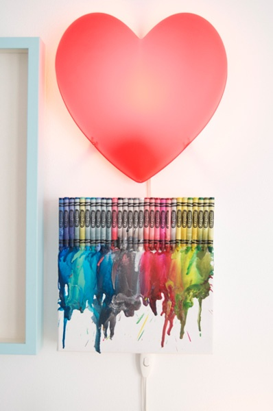 Unique Crayon Art and Heart LampChase Boys, Grandbaby Ideas, Unique Crayons, Colors, Crayons Art, Crayons Ideas, Gender Neutral Nurseries, Art Projects, Heart Lamps