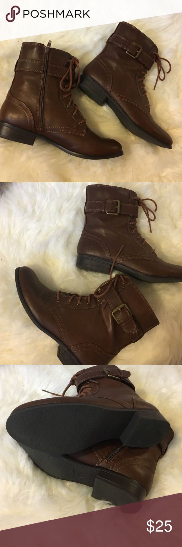 Brown leather combat boots Brown combat boots with gold hardware. Perfect condition. Style & Co. Style & Co Shoes Combat & Moto Boots